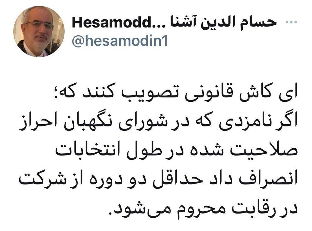 پیشنهاد متفاوت حسام الدین آشنا به شورای نگهبان برای برخورد با کاندیداهای پوششی