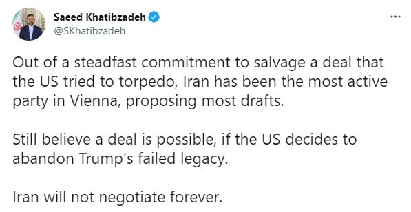 خطیبزاده: ایران مذاکره بیپایان نخواهد کرد