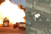 ببینید | تصاویری هولناک از لحظه انفجار یک کامیون در آمریکا