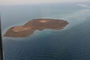 ببینید | تصاویری هوایی از دهانه آتش فشان فعال شده در دریای خزر