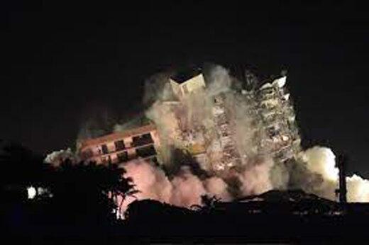 ببینید | لحظه انفجار و تخریب ساختمان در آمریکا به منظور نجات بازماندگان