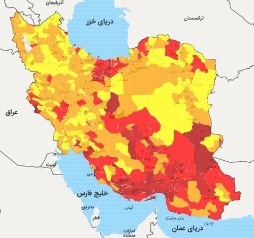 رنگبندی کرونایی شهرها در نیمه تیرماه ۱۴۰۰/ نیمی از کشور قرمز شد