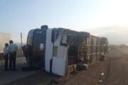 ببینید | واژگونی اتوبوس در جاده سمنان به سرخه