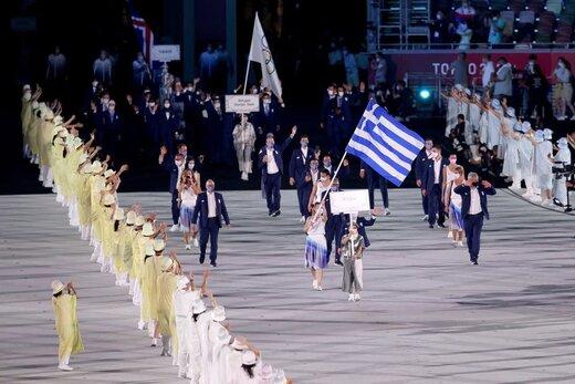 رژه کاروان کشورهای مختلف در مراسم افتتاحیه المپیک توکیو