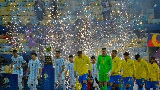 کریخوانی بازیکنان برزیل و آرژانتین ادامه دارد!/عکس
