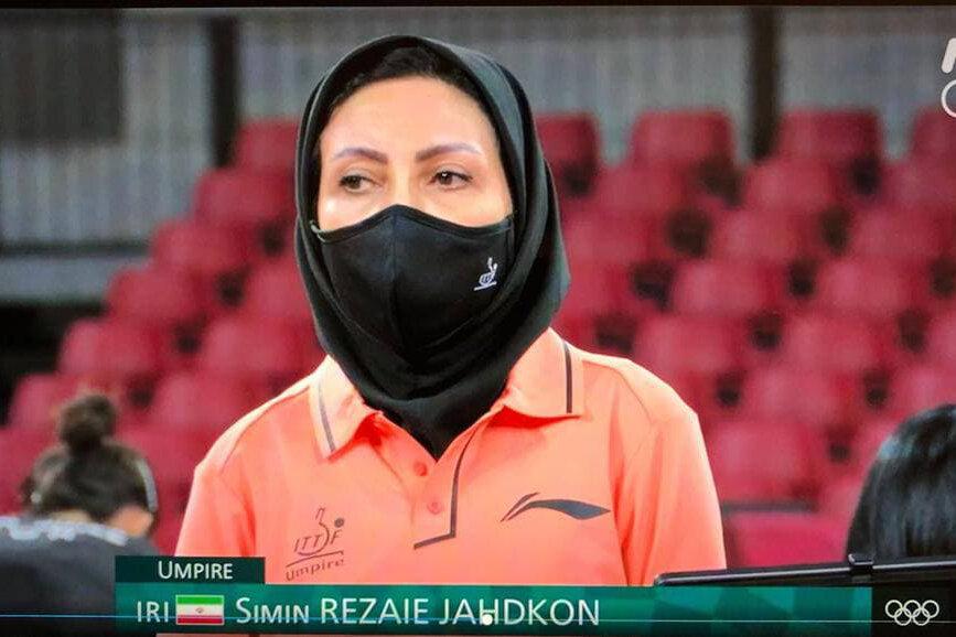 قضاوت داور زن ایرانی در نیمهنهایی تنیس روی میز /عکس