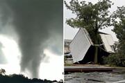 ببینید | تصاویر کمنظیر از گردبادهای دوقلو و زیانبار در پنسیلوانیا