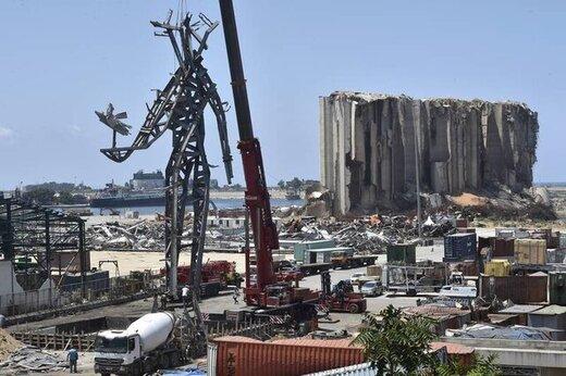 مجسمهای برای یادبود قربانیان انفجار بیروت