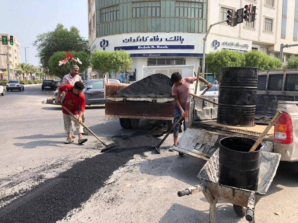 آغاز پویش مرمت نوارهای حفاری در معابر شهر قشم