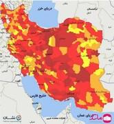 نقشه تمام قرمز کرونایی ایران در ۱۰ مرداد ۱۴۰۰