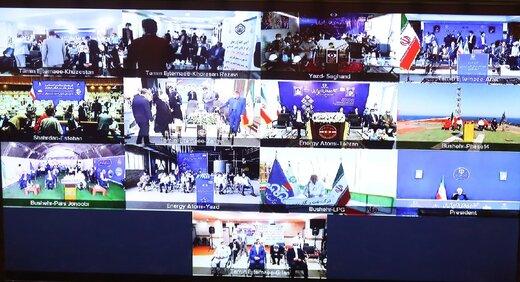 افتتاح طرح های ملی وزارتخانههای نفت، کشور، سازمانهای انرژی اتمی و تأمین اجتماعی توسط روحانی