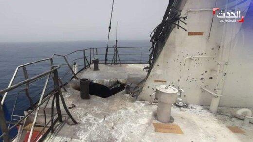 اولین تصاویر از کشتی اسراییلی بعد از حمله  در دریای عمان