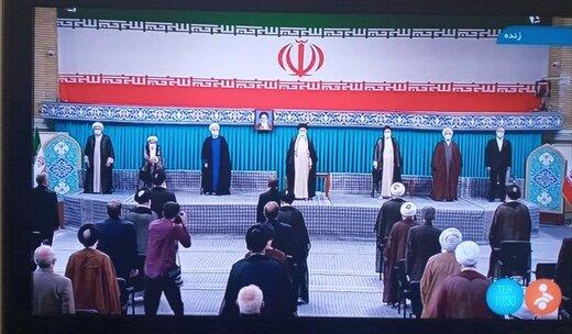 آغاز مراسم تنفیذ ریاست جمهوری سیزدهم /همنشینی قالیباف و محسنی اژه ای /روحانی در کنار آیت الله جنتی