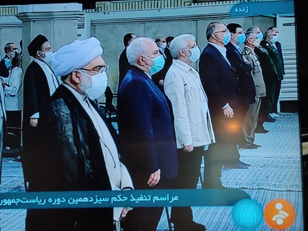 ظریف و جلیلی در صف اول مراسم تنفیذ رئیسی /کاندیدای پوششی هم آمد +عکس