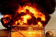 ببینید | آتش سوزی در یکی از مخازن پتروشیمی خارک