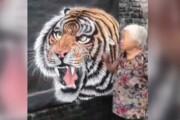 ببینید | هنرنمایی شگفتانگیز یک پیرزن تایلندی با نقاشی روی دیوار!