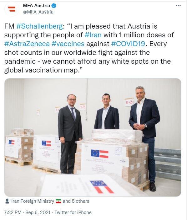 اتریش یک میلیون دُز واکسن آسترازنکا به ایران اهدا میکند/عکس