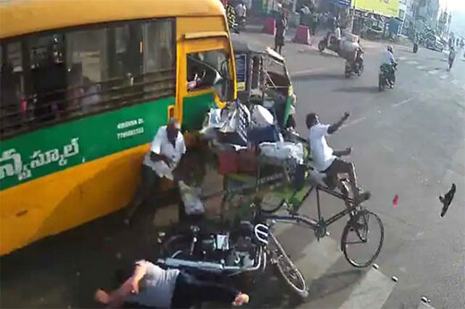 ببینید | لحظه ترمز بریدن وحشتناک یک اتوبوس و وقوع فاجعه در هند