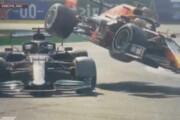 ببینید | لحظه تصادف شدید مکس ورشتپن با لوئیس همیلتون در مسابقات فرمول یک