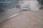 ببینید | لحظه ترسناک انفجار سیلندر گاز در یک ماشین