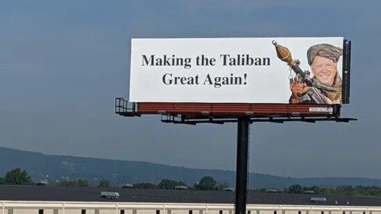 بایدن طالبانی روی بیلبوردهای آمریکا/عکس