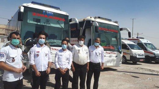 استقرار یک بالگرد ۳۰ دستگاه آمبولانس و ۴ دستگاه اتوبوس آمبولانس در مرز شلمچه