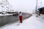 ببینید | تصاویری دیدنی از بارش اولین برف پائیزی در جاده هراز